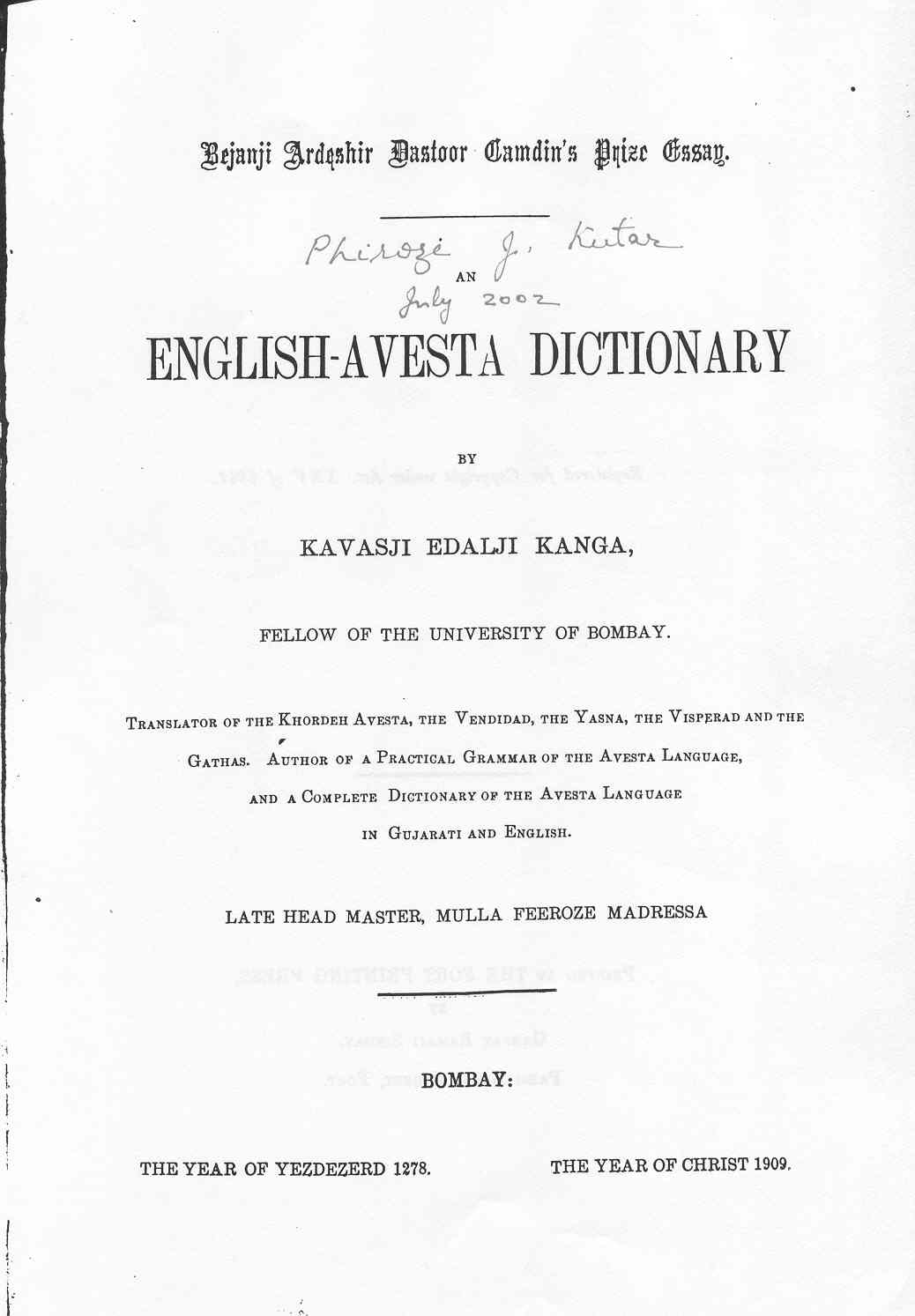 K E Kanga English Avesta Dictionary